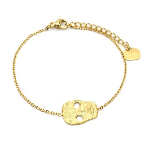 Bracelet-Fine-Chaine-avec-Tete-de-Mort-Calavera-Acier-Dore