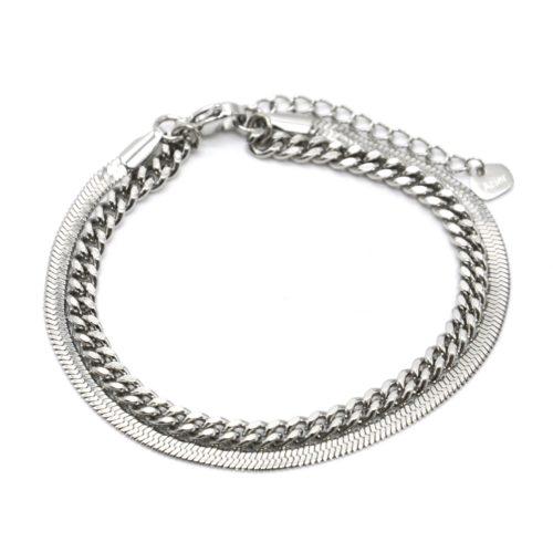 Bracelet-Double-Chaines-Serpent-et-Maillons-Acier-Argente