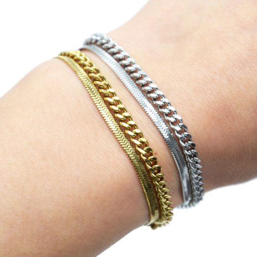 Bracelet-Double-Chaines-Serpent-et-Maillons-Acier