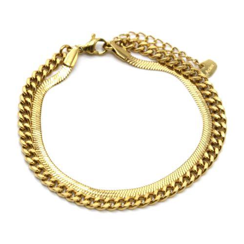 Bracelet-Double-Chaines-Serpent-et-Maillons-Acier-Dore