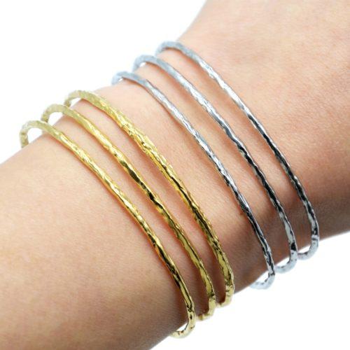 Bracelet-Manchette-Triple-Rangs-Marteles-Acier