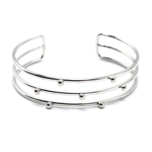 Bracelet-Manchette-Triple-Rangs-avec-Billes-Acier-Argente