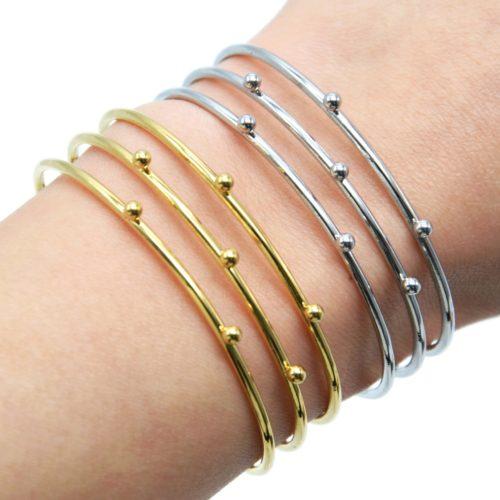 Bracelet-Manchette-Triple-Rangs-avec-Billes-Acier