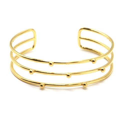 Bracelet-Manchette-Triple-Rangs-avec-Billes-Acier-Dore