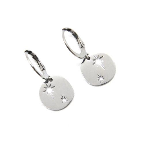 Boucles-dOreilles-Mini-Creoles-avec-Medaille-Etoiles-Acier-Argente