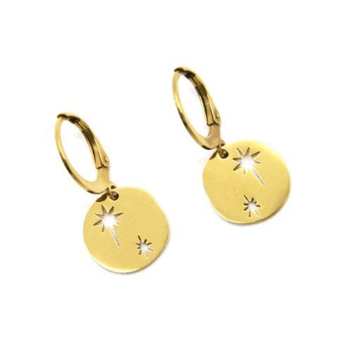 Boucles-dOreilles-Mini-Creoles-avec-Medaille-Etoiles-Acier-Dore