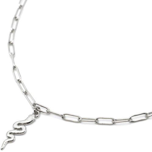 Collier-Chaine-Maillons-Pendentif-Serpent-Relief-Acier-Argente