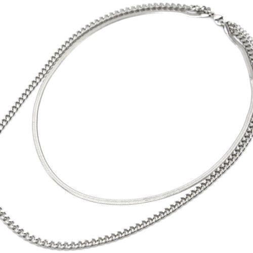 Collier-Double-Chaines-Serpent-et-Maillons-Acier-Argente