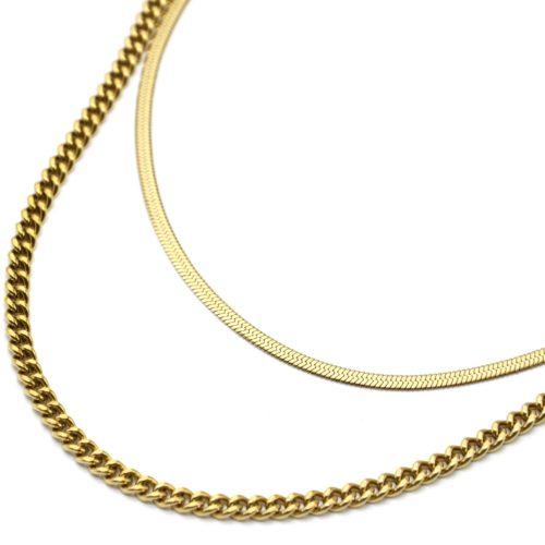 Collier-Double-Chaines-Serpent-et-Maillons-Acier-Dore