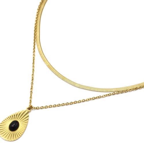 Collier-Double-Chaines-Serpent-avec-Goutte-Rayons-Acier-Dore-et-Pierre-Noire