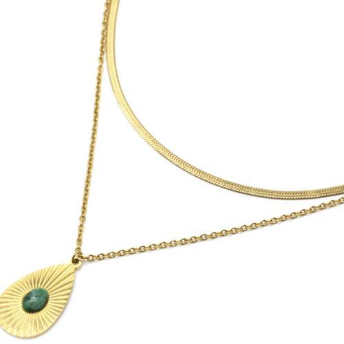 Collier-Double-Chaines-Serpent-avec-Goutte-Rayons-Acier-Dore-et-Pierre-Verte