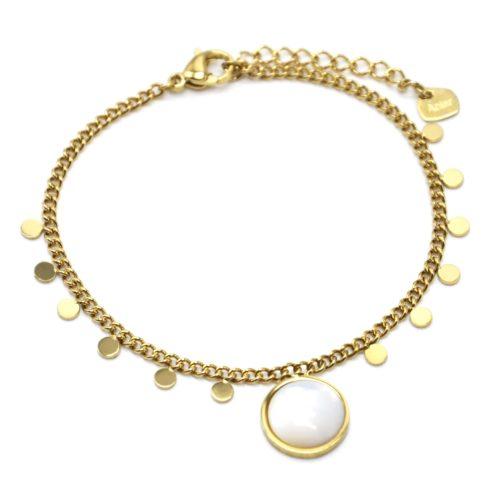 Bracelet-Chaine-Mini-Pampilles-Acier-Dore-et-Pierre-Nacre