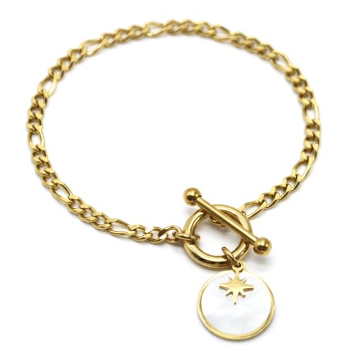 Bracelet-Chaine-Maillons-Cercle-et-Barre-Acier-Dore-avec-Charm-Nacre-Etoile
