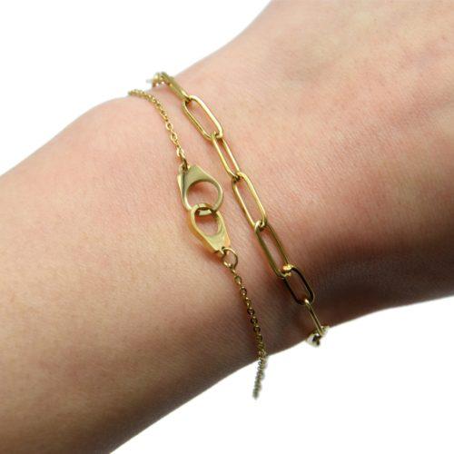Bracelet-Maillons-et-Fine-Chaine-Charm-Menottes-Acier-Dore
