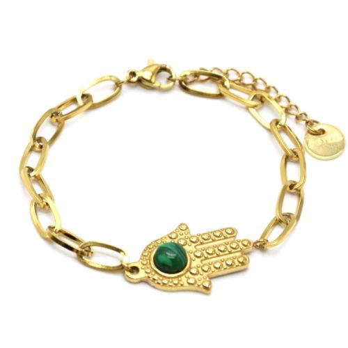 Bracelet-Chaine-Maillons-avec-Main-de-Fatma-Acier-Dore-et-Pierre-Verte