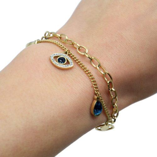 Bracelet-Chaines-Maillons-avec-Oeil-Acier-Dore-Strass-et-Pierres-Gouttes-Bleues