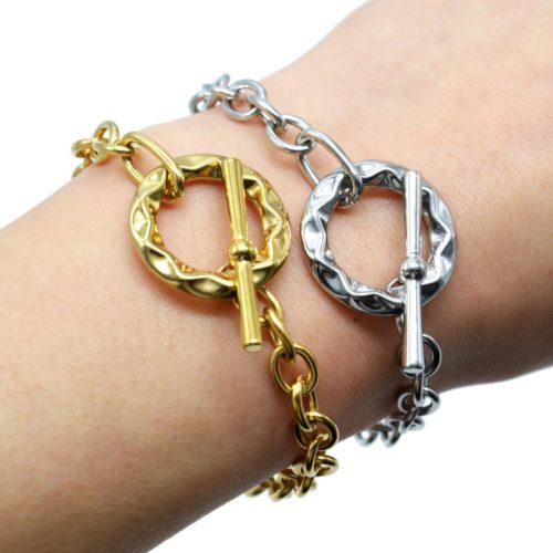Bracelet-Chaine-Maillons-avec-Cercle-Torsade-et-Barre-Acier