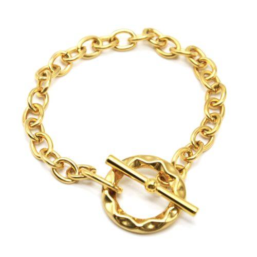Bracelet-Chaine-Maillons-avec-Cercle-Torsade-et-Barre-Acier-Dore