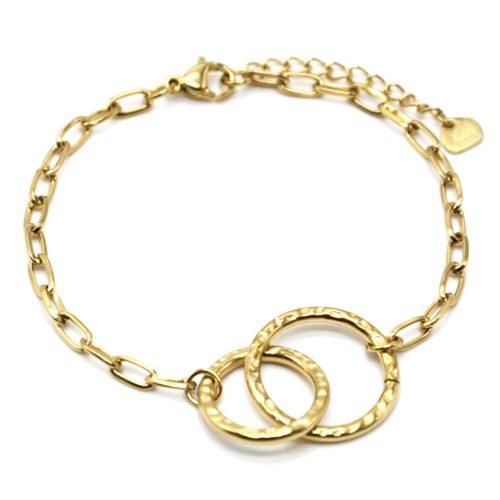 Bracelet-Chaine-Maillons-avec-Cercles-Entrelaces-Marteles-Acier-Dore