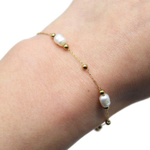 Bracelet-Chaine-Billes-Acier-Dore-avec-Perles-dEau-Douce