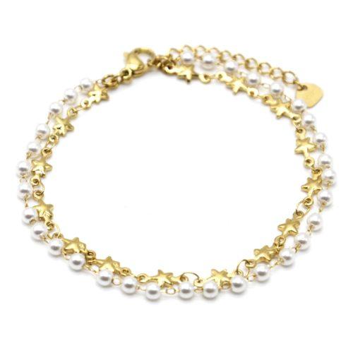 Bracelet-Double-Chaines-Etoiles-Acier-Dore-avec-Mini-Perles-Blanches