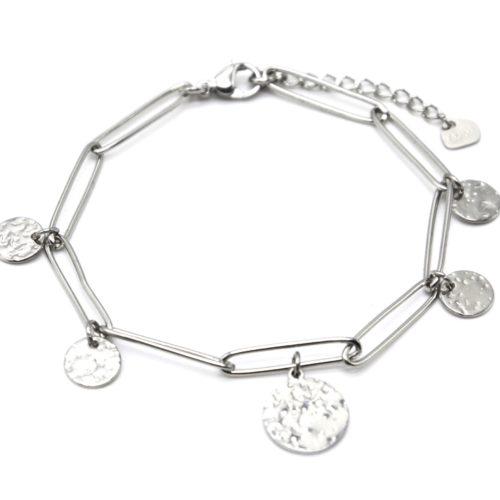 Bracelet-Chaine-Maillons-avec-Medailles-Martelees-Acier-Argente