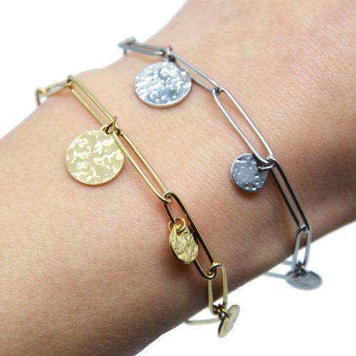Bracelet-Chaine-Maillons-avec-Medailles-Martelees-Acier