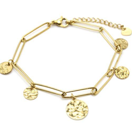 Bracelet-Chaine-Maillons-avec-Medailles-Martelees-Acier-Dore