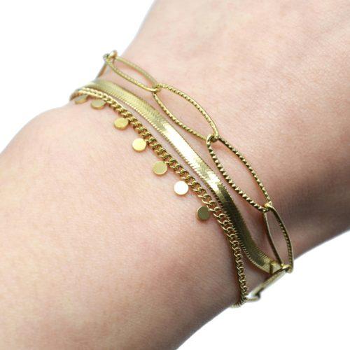 Bracelet-Triple-Chaines-Maillons-et-Serpentine-avec-Mini-Pampilles-Acier-Dore
