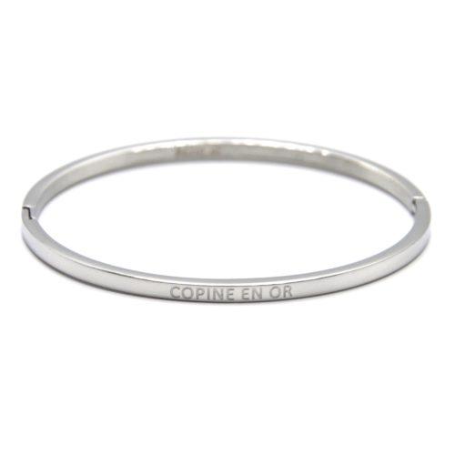 Bracelet-Jonc-Fin-Acier-Argente-avec-Message-Copine-en-Or
