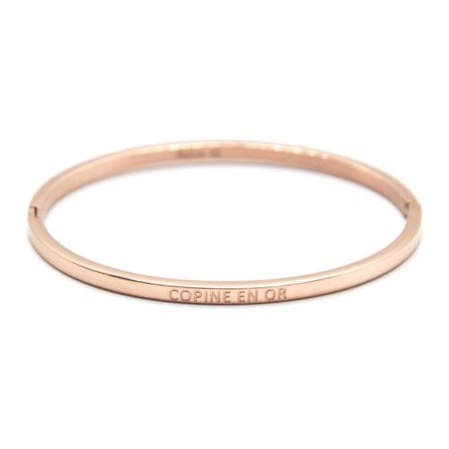 Bracelet-Jonc-Fin-Acier-Or-Rose-avec-Message-Copine-en-Or