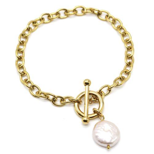 Bracelet-Chaine-Maillons-Cercle-et-Barre-Acier-Dore-avec-Perle-dEau-Douce