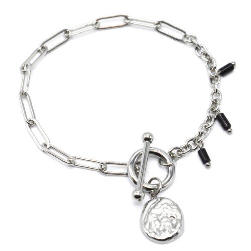 Bracelet-Chaine-Maillons-Mixtes-Cercle-et-Barre-Charm-Martele-Acier-Argente-et-Perles-Noires