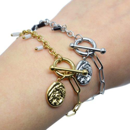 Bracelet-Chaine-Maillons-Mixtes-Cercle-et-Barre-Charm-Martele-Acier-et-Perles