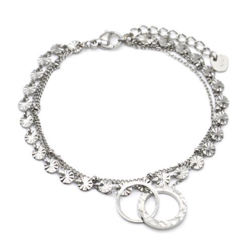 Bracelet-Triple-Chaines-Medailles-Rayons-Billes-et-Cercles-Entrelaces-Acier-Argente