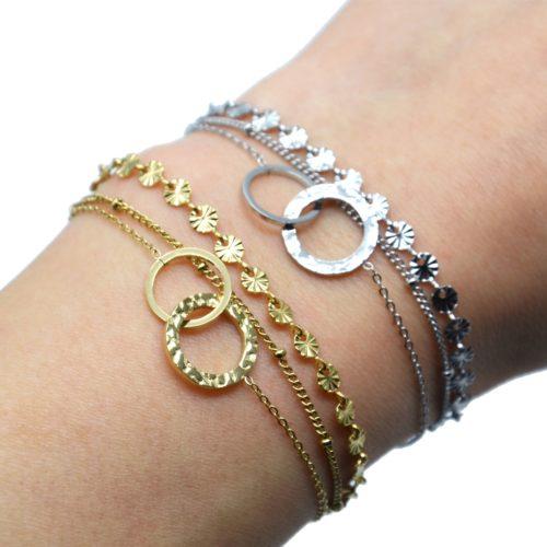 Bracelet-Triple-Chaines-Medailles-Rayons-Billes-et-Cercles-Entrelaces-Acier