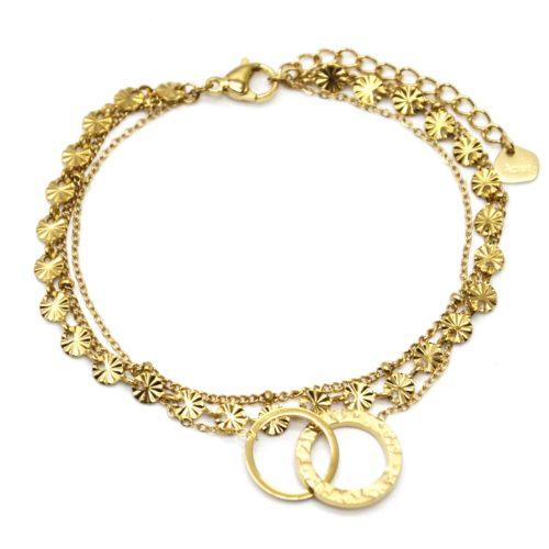 Bracelet-Triple-Chaines-Medailles-Rayons-Billes-et-Cercles-Entrelaces-Acier-Dore