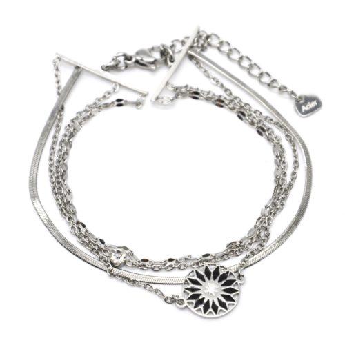 Bracelet-Multi-Chaines-Maillons-Serpentine-Acier-Argente-et-Rosace-Email-Noir