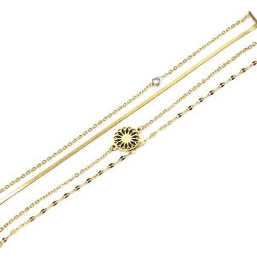 Bracelet-Multi-Chaines-Maillons-Serpentine-Acier-Dore-et-Rosace-Email-Noir