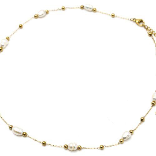 Collier-Chaine-Billes-Acier-Dore-avec-Perles-dEau-Douce