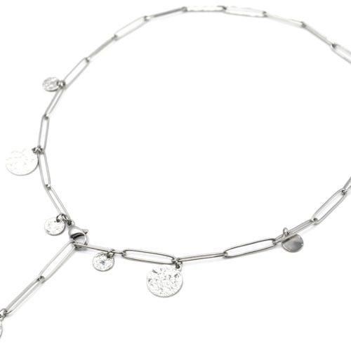 Collier-Chaine-Maillons-Y-avec-Medailles-Martelees-Acier-Argente