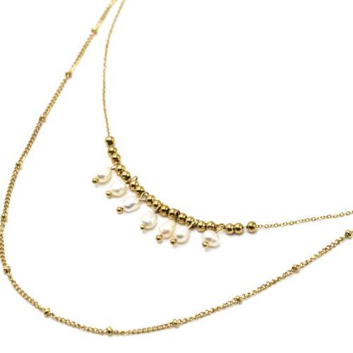 Collier-Double-Chaines-Billes-Acier-Dore-et-Pampilles-Perles-dEau-Douce