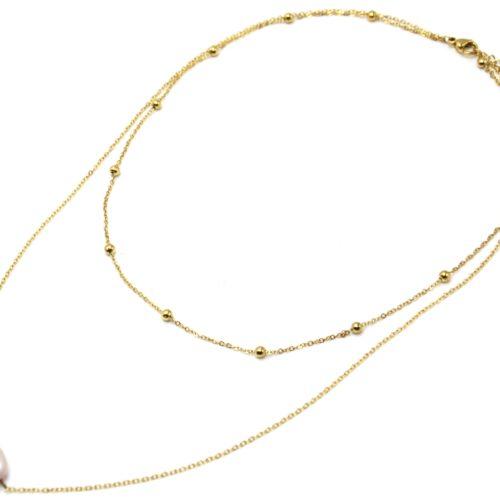 Collier-Double-Chaines-Billes-Acier-Dore-et-Perle-dEau-Douce