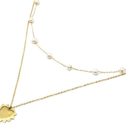 Collier-Double-Chaines-Perles-dEau-Douce-et-Coeur-Petales-Acier-Dore