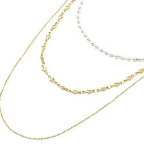 Collier-Triple-Chaines-Etoiles-Acier-Dore-et-Mini-Perles-Blanches