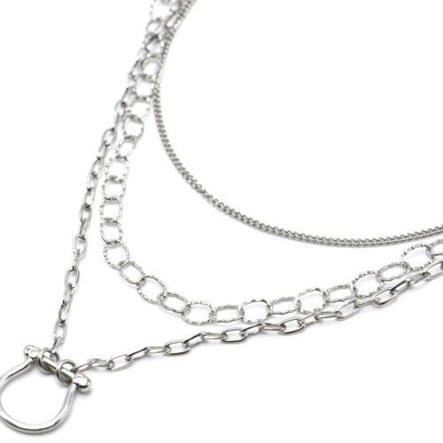 Collier-Triple-Chaines-Maillons-avec-Fer-a-Cheval-Acier-Argente