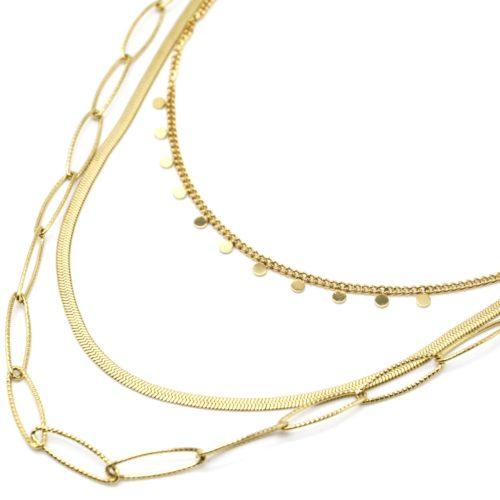 Collier-Triple-Chaines-Maillons-Serpentine-et-Mini-Pampilles-Acier-Dore