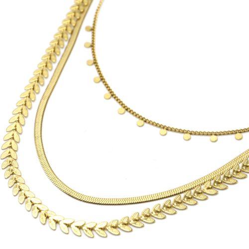 Collier-Triple-Chaines-Epi-de-Ble-Serpentine-et-Mini-Pampilles-Acier-Dore