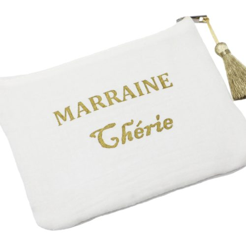 Trousse-Pochette-Coton-Blanc-Message-Marraine-Cherie-Pompon-Dore