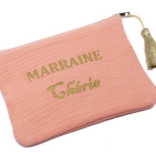 Trousse-Pochette-Coton-Rose-Message-Marraine-Cherie-Pompon-Dore